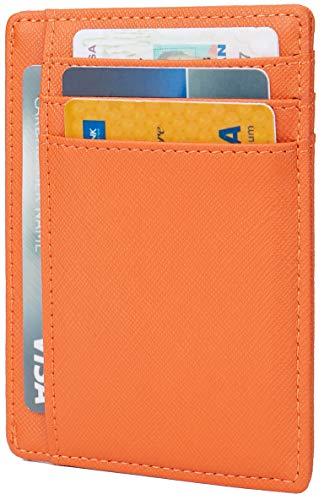 Currency Card Credit - Linscra Small Genuine Leather RFID Blocking Minimalist Wallet Credit ID Card Holder Travel Slim Pocket Wallet Money Clip Men Women, Orange