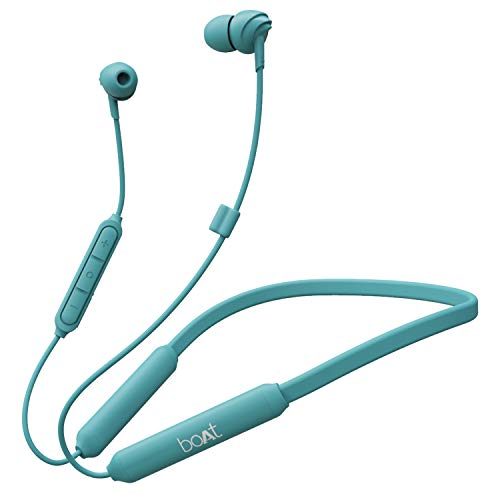 boAt 100 Wireless On-Neck Bluetooth V5.0 Earphones with Flexible & Lightweight Design,Upto 30 Hours Battery Time, IPX 4 Sweat and Water Resistance & Integrated Controls with in-Built mic(Ocean Blue)