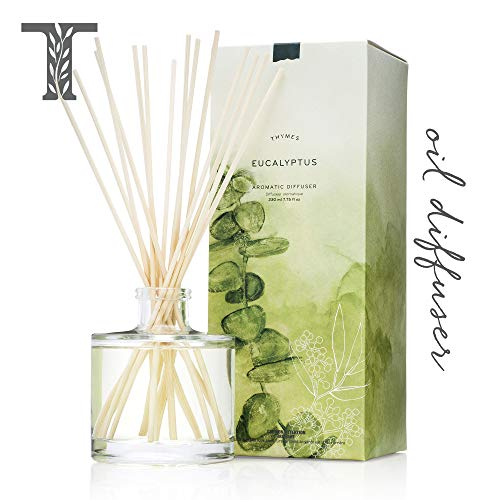 Thymes - Eucalyptus Aromatic Oil Reed Diffuser - Gift Set with Premium Sticks, Glass Bottle and Scented Oil - 6.5 oz - Frasier Fir Hand Lotion