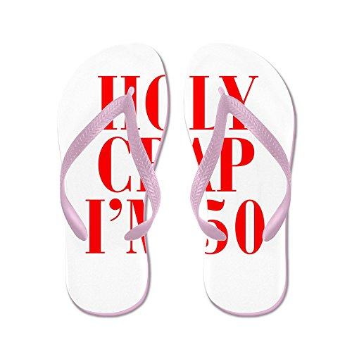 CafePress Holy Crap Im 50 - Flip Flops, Funny Thong Sandals, Beach Sandals Pink