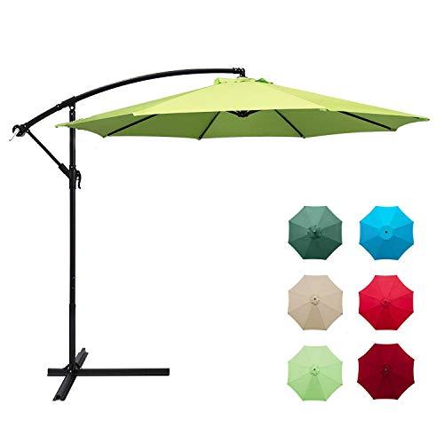 Aoxun 10ft Patio Offset Cantilever Umbrella – Market Umbrellas Outdoor Umbrella with Crank & Cross Base for Garden, Deck,Backyard and Pool (Apple Green)