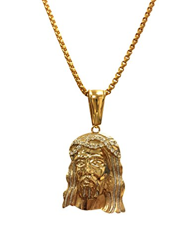 Exo Jewel 18k Gold Plated Jesus Face Pendant Stainless Steel Necklace with Glittered Sandblast Finish