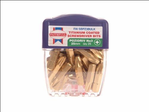 Faithfull Titanium Screwdriver Bits 25mm Pozi 3 Pack ()