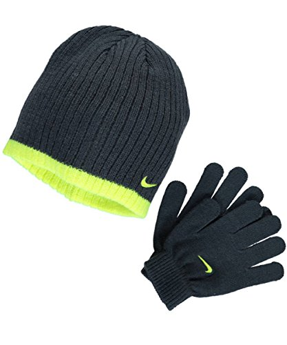 Nike Big Boys Rib Beanie and Glove Set (Grey)