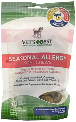 Vets Best (3 Pack) Seasonal Allergy Soft Chews Dog Supplements,Each a 30 Day Supply