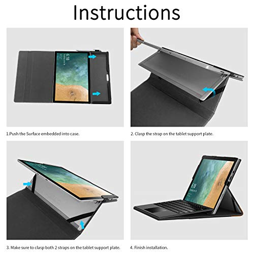 INFILAND Microsoft Surface Pro 7 Case Compatible with Microsoft Surface Pro 7/ Surface Pro 6/ Surface Pro 2017/ Surface Pro 4 12.3 inch Tablets, White Marble