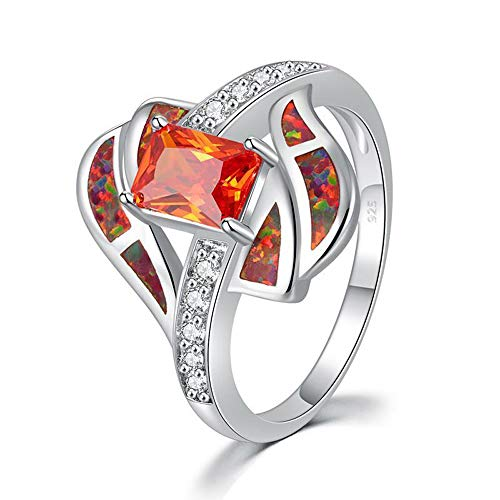(CiNily Gemstone Ring-Orange Opal 18K White Gold Plated Zircon Garnet Birthstone Women's Ring Size 5-12)