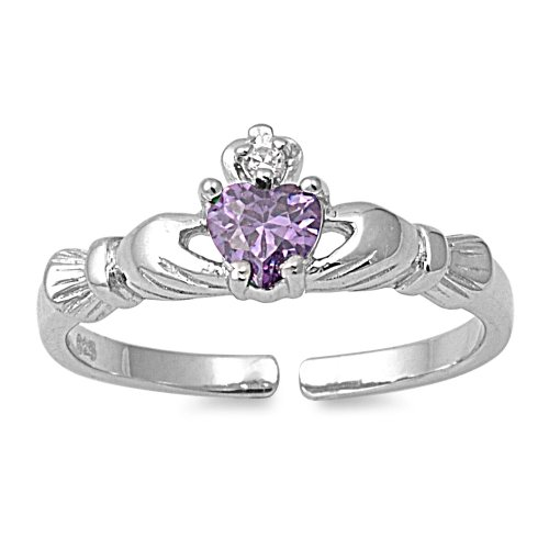 (CloseoutWarehouse Simulated Amethyst Cubic Zirconia Benediction of Claddagh Heart Knuckle/Toe Ring)