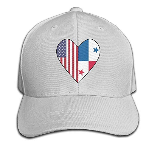 Men/Women Half Panama Flag Half USA Flag Love Heart Outdoor Duck Tongue Hats Adjustable Classic Dad Hat ()