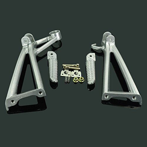 (JFG RACING Rear Passenger Silver Foot Pegs Rest Footpegs Footrest Foot Pedals Bracket Set For YAMAHA YZF R6 03-05 YZF R6S 06-09)