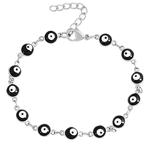 EDFORCE Stainless Steel Women's Charm Bracelet| Gold Enamel Evil Eye Protection Link Chain Adjustable, 8