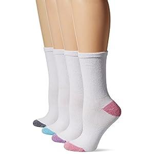 Hanes Women's 4-Pack Sport Cool Comfort Crew, White/Pink Assortment, 5-9
