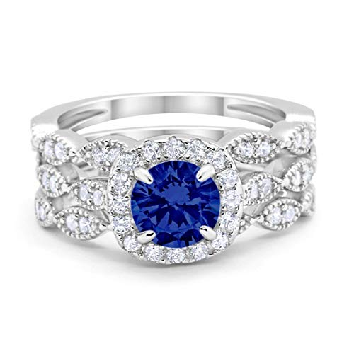 Halo Art Deco Three Piece Wedding Engagement Bridal Set Ring Band Solid Simulated Blue Sapphire 925 Sterling Silver, Size-9