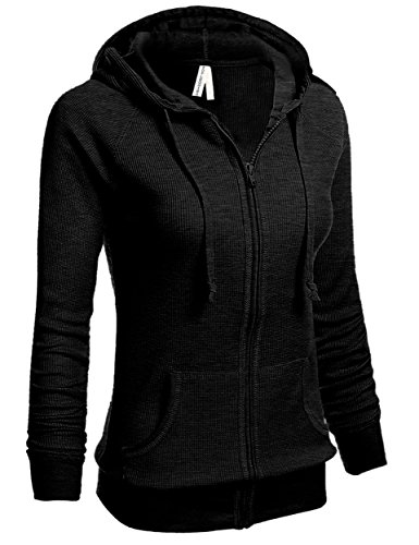 TL Women's Knit Stretch Zipper Solid Casual Zip-Up Hoodie Jackets in Colors THERMAL35_BLACK M