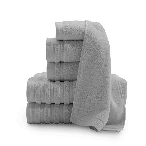Baltic Linen Pure Elegance 100% Turkish Cotton Luxury Towels, 2 Bath Towels, 2 Hand Towels, 2 Washcloths, Sterling, 6 Piece Set ()