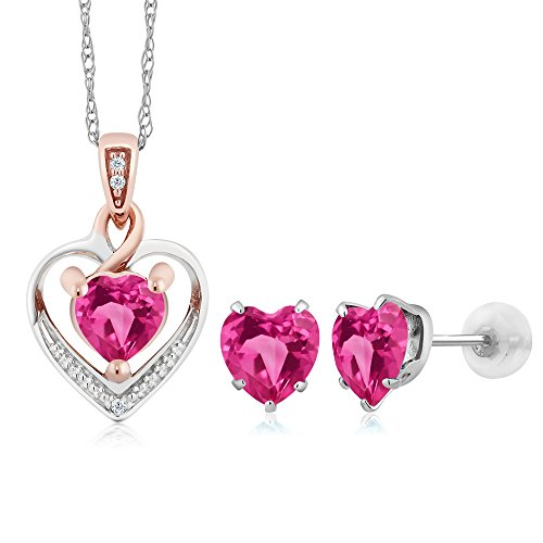 Gem Stone King 10K White Gold Heart Pink Created Sapphire and Diamond Pendant Earrings Set