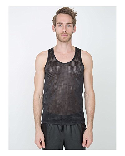 American Apparel Unisex Poly Mesh Athletic Tank - Black / XL