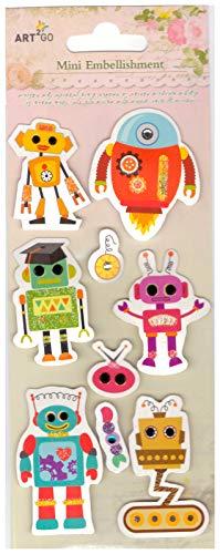 (Unique Designs Scrapbook Mini Embellishment Cardstock Stickers for Scrapbooking-Art Works-Albums-Calendars-Greeting & Invitation Cards- Trees (Robots))