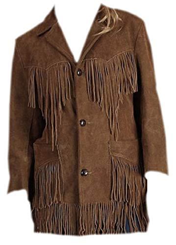 LEATHERAY Women Western Style Fringed & Bones Leather Jacket Brown L