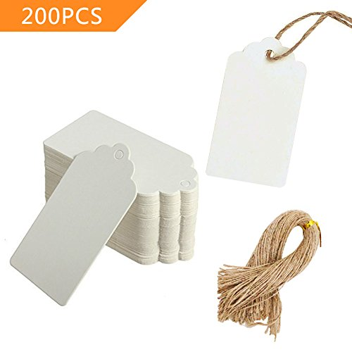 SallyFashion Paper Tags Gift Hang Tags with String 200pcs White