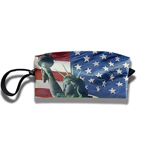 Kla Ju Portable Pencil Bag Cosmetic Pouch US Statue of Liberty Stationery Purse Storage Organizer -