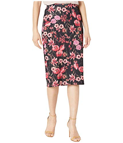 ECI Abstract Floral Print Scuba Pencil Knit Skirt Black/Fuchsia MD