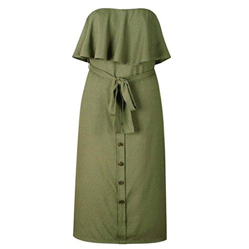 TAOtTAO Womens Off Shoulder Bardot Midi Dress Ladies Summer Ruffle ...