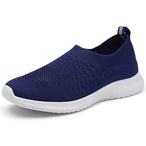 LANCROP Women's Lightweight Walking Shoes - Casual Breathable Mesh Slip On Sneakers 9.5 US, Label 41 Navy