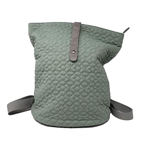 (Win&Co Quilted Backpack Green Bucket Bag Purse Versatile Travel Comute Fashion Trend Sage Gray)