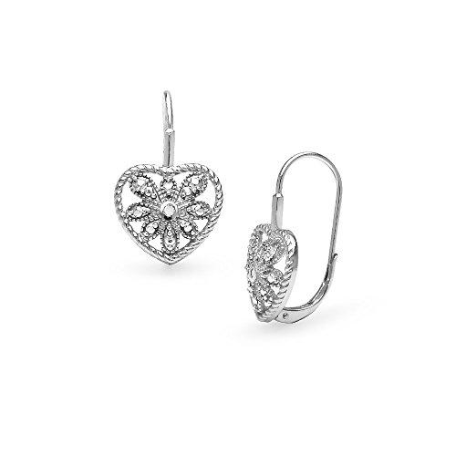 Sterling Silver Heart Filigree Flower Diamond Accent Leverback Drop Earrings, - Earrings Diamond Leverback Flower