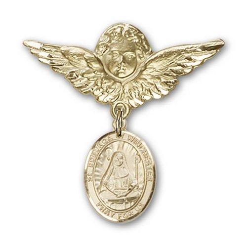 Icecarats Or Bijoux De Créateurs Rempli R. Edburga De Winchester Charme Ange Broche De Badge 1 1/8 X 1 1/8