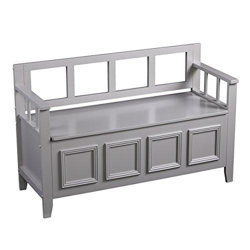 Flip Top Wood Storage Bench - Gray Finish Storage Chest - Space Saving Design (Gray Storage Bench)