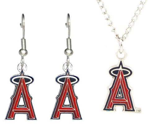 (Los Angeles Angels - MLB Earrings & Pendant Necklace Gift Set)