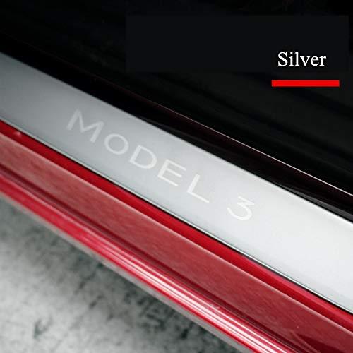 Semoic Edelstahl Autot/üRschwellenverschlei?Platte Willkommen Pedal Schutzleiste Einstiegsleisten Dekoration Wrap Cover f/ür Tesla Model 3 Silber