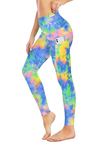 Seyorz High Waisted Yoga Pants with 4 Pockets for Women, Tie Dye Camo Printed Yoga Pants Tummy Control (Green, Small)
