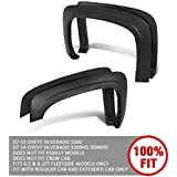 DNA MOTORING IF-10018-MBK 4Pcs OE Style Wheel Fender Flares for 07-13 Chevy Silverado 1500 2500 3500,Black