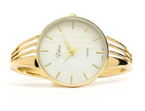 Gold Tone String Style Band Luxury Women's Bangle Cuff Watch by FTW (Image #2)