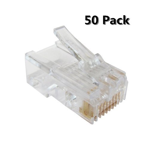 8c Modular Plugs (Inovat 50 Pack RJ45 CAT5E CAT6 Crimp Connector RJ-45 8P8C Ethernet Network CAT5E CAT Modular Network Cable Plug Connector)