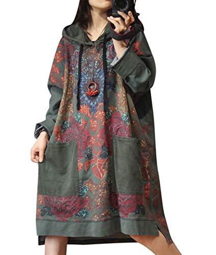 YESNO YN4 Women Casual Loose Sweatshirt Jacket Plus Size Outwear Ethnic Pattern Printed Corduroy Hood and Pocket High Low Hemline Long Sleeve