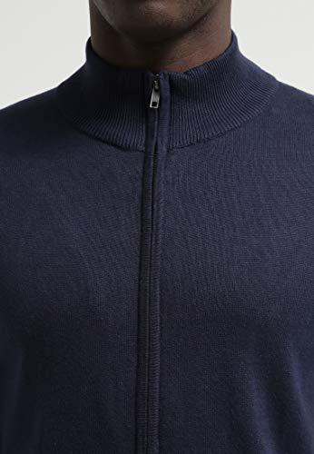 Scuro Colletto Melange Elegante Moderno 100 Pier blu Cardigan O Con One E Uomo Da Zip Cerniera Grigio Blu Cotone Maglioncino ZPnxq4pZw
