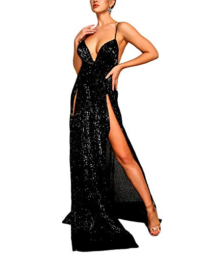 Ohvera Women's Spaghetti Strap Sequined High Slit Party Cocktail Evening Prom Gown Mermaid Maxi Long Dress Black ()