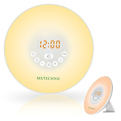 MXtechnic Wake Up Light - Alarm Clock Touch Control Sunrise/Sunset Simulation Lights,Alarm Clock with 6 Nature Sounds and Snooze Function,6 Colors Atmosphere Lamp with FM Radio