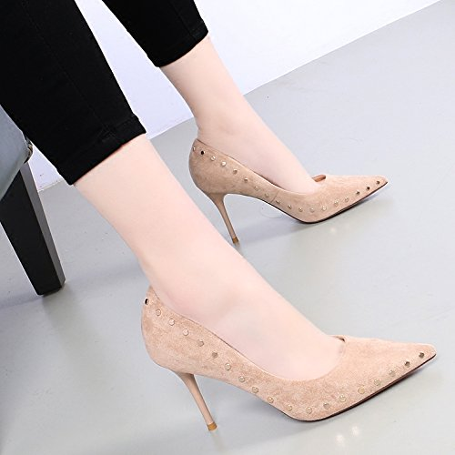 KHSKX-韩版春季新款 显瘦性感铆钉 浅口高跟 9Cm 女鞋 百搭尖头细跟单鞋 Beige