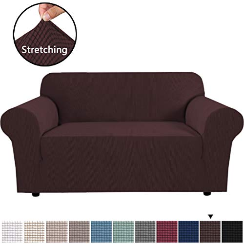 """H.VERSAILTEX High Stretch 1 Piece Jacquard Lycra Loveseat Sofa Cover/Slipcover Soft Spandex Form Fit Slip Resistant Stylish Furniture Protector Couch Covers for Loveseat 58""""-72"""" Wide, Chocolate"""