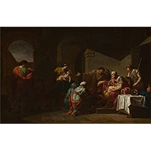 High Quality Polyster Canvas ,the High Quality Art Decorative Prints On Canvas Of Oil Painting 'Jean Franois Pierre Peyron Belisarius Receiving Hospitality From A Peasant ', 20 X 31 Inch / 51 X 79 Cm Is Best For Powder Room Decoration And Home Decoration