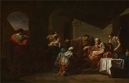 Oil Painting 'Jean Franois Pierre Peyron Belisarius Receiving Hospitality From A Peasant', 10 x 16 inch / 25 x 39 cm , on High Definition HD canvas prints, Bar, Living Room And Powder Room (Bleu Electric Wall Sconce)