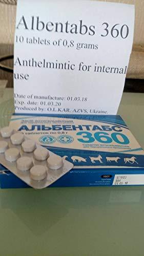Albendazole Albentabs 360 mg 10 Tablets Dog Cat De-wormer