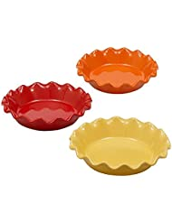 "Red, Orange or Yellow Stoneware Pie Plates. DII. 10"" (Yellow)"