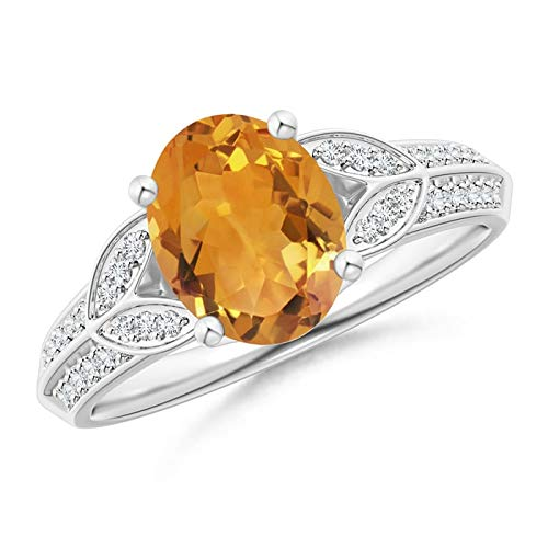 Citrine Knife - Knife-Edged Oval Citrine Solitaire Ring with Pave Diamonds in 14K White Gold (9x7mm Citrine)