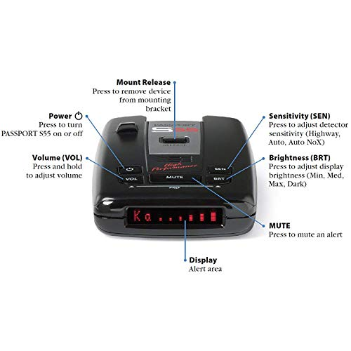 Escort Passport S55 RadarLaser Detector Bundle with NonSlip Car Mat 1Year Warranty and Deco Gear